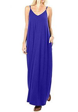 UniDear Womens Long Dress Casual Sleeveless V Neck Plain Swing Summer Beach Dress with Pocket Blue M