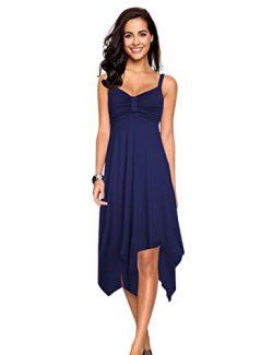 Leadingstar Beach Dresses for Women Spaghetti Strap Asymmetrical Hem Summer Dress(S, Navy Blue)