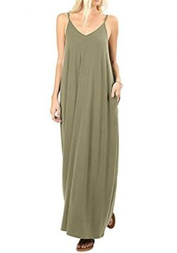 UniDear Womens Solid Color Summer Casual Plain Swing Pockets Loose Beach Cami Maxi Dress Green L
