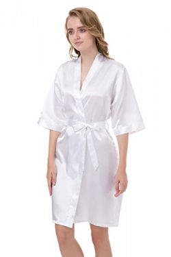gusuqing Women's Pure Color Short Kimono Robe Sleeve Bridesmaid Robe White 3 M