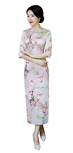 Cheongsam Dresses for Women, Seacolor Floral Print Vintage 2/3 Sleeve Mulberry Silk Bodycon Qipa ...
