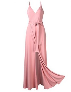 GlorySunshine Women Wrap V-Neck Strap Sleeveless Split Side Evening Dress Long Evening Gown Upgr ...