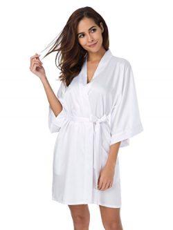 SIORO Womens Kimono Robe Bridesmaid Bride Satin Robes Lightweight Bathrobe Silk Nightwear V-Neck ...