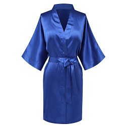 Goodmansam Women's Simplicity Stlye Bridesmaid Wedding Party Kimono Robes, Short,Azure Blu ...