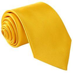 Fortunatever Classical Men's Handmade Tie,Solid Necktie With Gift Box(Golden Yellow)