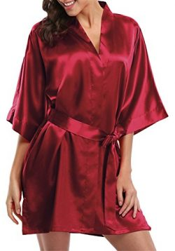 Giova Pure Color Satin Short Silky Bathrobe Sleepwear Nightgown Pajama,Wine Red,Small