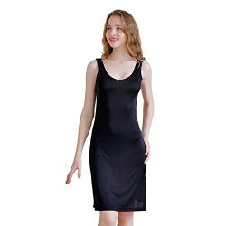 Zylioo Womens 100% Mulberry Silk Full Slips Dresses Comfy Sexy Slim Fit Camisole Under Dress Nig ...