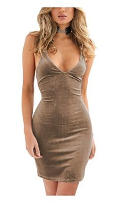 Doramode Womens Spaghetti Strap Bodycon Sleeveless Backless Velvet Sexy Short Club Dress Khaki X ...