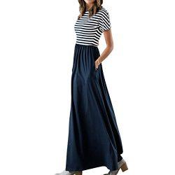 Evoky Women's Floral Print Long Sleeve Loose Plain Maxi Dresses Casual Long Dresse Maxi Dr ...