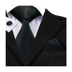 Hi-Tie Classic Black Solid Woven Silk Tie Hanky Cufflinks set
