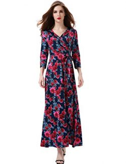 Melynnco Women's Floral Print 3/4 Sleeve Faux Wrap V Neck Maxi Dress Summer XX-Large Navy