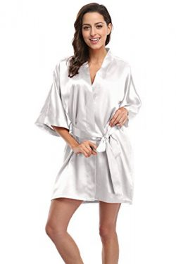 CostumeDeals KimonoDeals Women's dept Soft Elegant Solid Color Kimono Robe-White, Short S