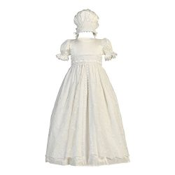 Lito Baby Girls Antique White Embroidered Tulle Overlay Baptism Silk Gown 12-18M