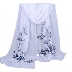 Chiffon Scarf,Han Shi Stylish Women Soft Wrap Shawl Silk Voile Scarf Headscarf Muffler (L, Gray)