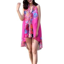 Loose Fit Women Chiffon Sunscreen Scarf Big Size Silk Scarf Shawl Lady Summer Beach Shirt Tops ( ...