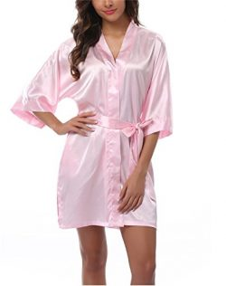 FADSHOW Women's Satin Robes Short Wedding Robes for Bridal Party, Light Pink