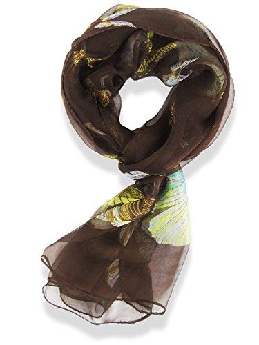 Hanson Womens 100% Silk Butterfly Pattern Scarf (Brown)