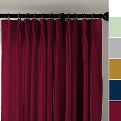 ChadMade Vintage Textured Faux Dupioni Silk Curtain Panel Pinch Pleated 72″ W x 96″  ...