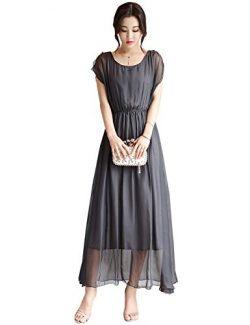 Tanming Women's O-Neck Elastic Waist Ankle Length Maxi Long Dress (Medium, Grey)