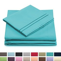 Cosy House Collection Twin Size Bed Sheets – Pastel Blue Luxury Sheet Set – Deep Poc ...
