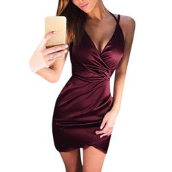 YANG-YI Clearance, Hot 2018 Spring Women Solid Sleeveless V-Neck Crossed Front Mini Dress (Wine  ...