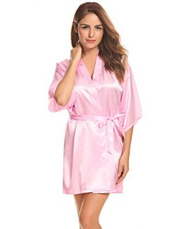 Aibrou Women's Kimono Robes Satin Pure Colour Short Style with Oblique V-Neck (XXL, Baby Pink)