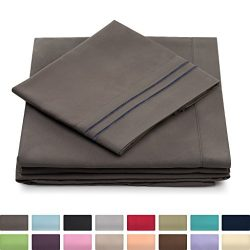 Cosy House Collection Full Size Bed Sheets – Grey Luxury Sheet Set – Deep Pocket &#8 ...