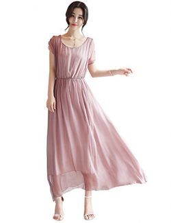 Tanming Women's O-Neck Elastic Waist Ankle Length Maxi Long Dress (Large, Pink)