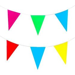 yueton Multicolor Pennant Banner 164ft 50m Pennant Party Rainbow String Curtain Banner for Decor ...