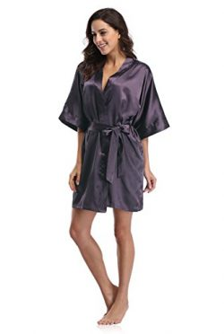 Luvrobes Women's Satin Kimono Robe, Solid Color, Short (S, Lilac)