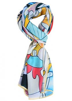 Salutto Women 100% Silk Scarves Pablo Picasso Sculptor Painted Scarf (8)