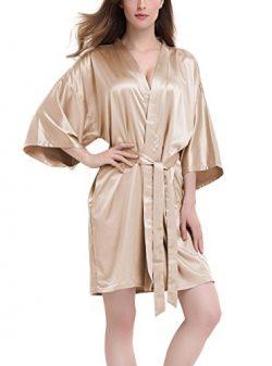 David Archy Women's Stretchy Satin Kimono Robe Bridesmaid Silk Nightwear Short Bathrobe(L, ...