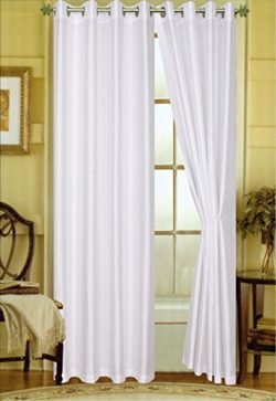 "A Pair of 2 Faux Silk Grommet Curtain Panels (White, 58″x""95)"