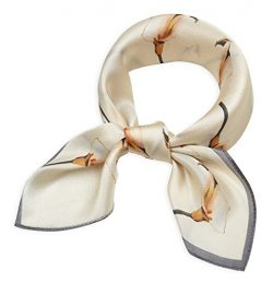 Women's Small Square 100% Real Mulberry Silk Scarfs Scarves 21″ x 21″ Calla Is ...