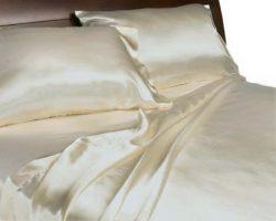 Royal Opulance Luxurious Satin Queen Sheet Set,Ivory