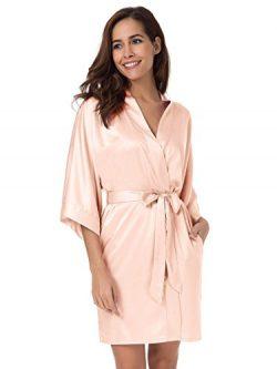 SIORO Womens Kimono Robe Bridesmaid Satin Robes Silk Lightweight Nightwear V-Neck Sexy Sleepwear ...