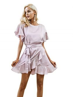 Simplee Women's Elegant Party Evening Cocktail Satin Mini Dress With Ruffles