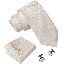 Barry.Wang Flower Ties for Men Silk Tie Handkerchief Cufflinks Set Ivory