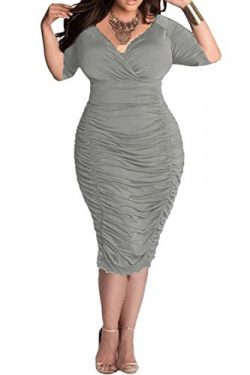LaSuiveur Ladies Plunge Pleated Party Dresses Plus Size Bodycon Dress XL Grey