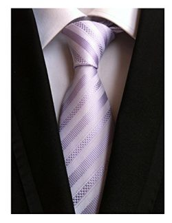 Secdtie Men's Stripe Light Purple Jacquard Woven Silk Tie Formal Necktie TW011