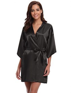 Aibrou Women's Kimono Robes Satin Pure Colour Short Style with Oblique V-Neck Black XL
