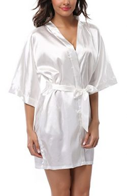 ABC-STAR Women Short Satin Kimono Robes for Wedding Bridal Party Bridesmaid Gift, White, L