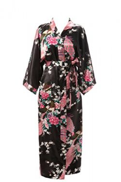 J.ROBE Women's Kimono Robe Long Printed Lotus Kimono Robe Silk with Pockets, Black, One Size