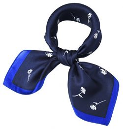 corciova Women 100% Mulberry Silk Neck Scarf Small Square Scarves Neckerchiefs Prussian Blue Lea ...
