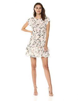 Rebecca Taylor Women's Short Sleeve Ruffle Silk Dress, Vanilla Combo, 4