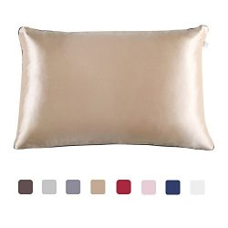 JINSANTA Natural Mulberry Silk Pillowcase for Hair and Skin Queen Size Hypoallergenic Anti-Mites ...