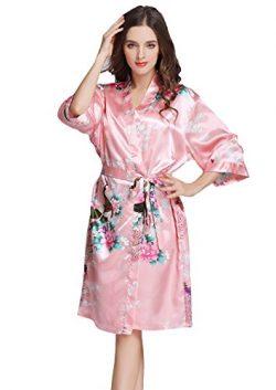 J.ROBE Women's Printing Lotus Kimono Robe Short Sleeve Silk Bridal Robe Magenta S
