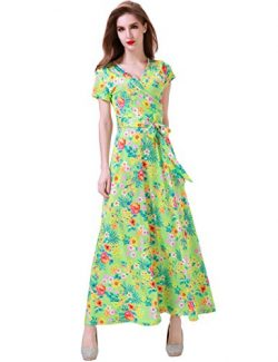 Aphratti Women's Short Sleeve Vintage Floral Print Faux Wrap V Neck Maxi Dress Small Light ...