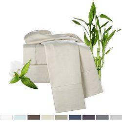 Bamboo Bed Sheet Set, Cream, Cal King Size, By Clara Clark, 100% Rayon Made From Bamboo Sheets,  ...