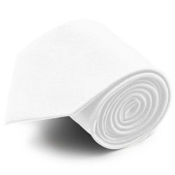 100% Silk Handmade White Solid Color Tie Men's Necktie by John William